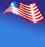 Abstrakt amerikanska flaggan på blå bakgrund Arkivbild