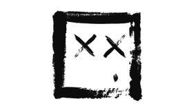 Abstrakt animering av den svarta ledsna emoticonen som inom målas av rektangel på ett vitt stycke av papper djur minimalistic royaltyfri illustrationer