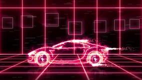 Abstrakt animering av en futuristisk toppen bil som göras med wireframes för ljus stråle på futuristisk stadsbakgrundsplats vektor illustrationer