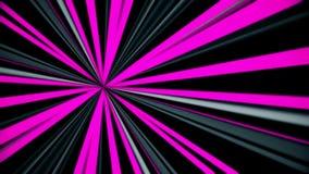 Abstrakt animering av jämbördiga strålar för roterande purpurfärgat, vitt och grått neon Futuristiska neonstrålar vektor illustrationer