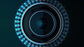 Abstrakt animering av plexussfären som vänder in i en glansig geometrisk form på ett mörkt - blå bakgrund tekniskt stock illustrationer