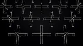 Abstrakt animering av rörelse av geometriska former på en svart bakgrund Geometriskt komplexa former stock illustrationer