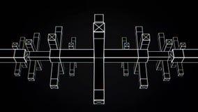 Abstrakt animering av rörelse av geometriska former på en svart bakgrund Geometriskt komplexa former royaltyfri illustrationer