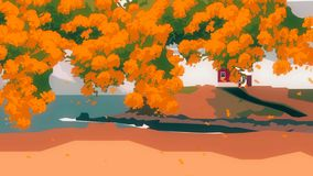 Abstrakt animering av tecknad filmtr?det med det lilla huset p? kullen n?ra sj?sidan p? en bakgrund Tecknad filmliggande royaltyfri illustrationer