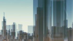 Abstrakt animering 3D för Chicago stadsskyskrapor royaltyfri illustrationer