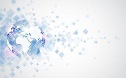 Abstrakt anslutning för digital teknologi på jordbegreppsbakgrund, vektorillustration vektor illustrationer