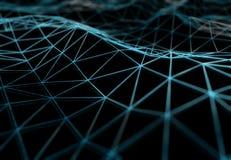 Abstrakt anslutning för digitalt nätverk på mörk tolkning för bakgrund 3D vektor illustrationer