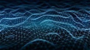 Abstrakt anslutning för digitalt nätverk på mörk tolkning för bakgrund 3D stock illustrationer