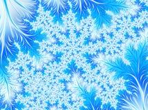 Abstrakt Aqua Blue White Christmas Tree filial med snöflingor Royaltyfri Fotografi