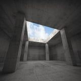 Abstrakt arkitektur, inre för mörkerbetongrum Arkivbild