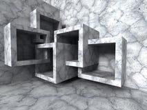 abstrakt arkitektur Konkret kaotisk kubkonstruktionsbackg Arkivbild