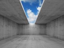 Abstrakt arkitektur, tomt konkret rum med öppning stock illustrationer