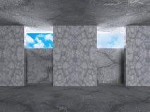 abstrakt arkitekturbakgrund betongväggrum med himmel w Royaltyfri Foto