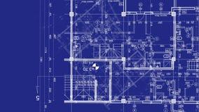 Abstrakt arkitekturbakgrund: ritninghusplanet med skissar av stad lager videofilmer