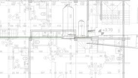 Abstrakt arkitekturbakgrund: ritninghusplanet med skissar av staden som animeras i bakgrund stock video