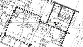 Abstrakt arkitekturbakgrund: ritninghusplanet med skissar av staden som animeras i bakgrund arkivfilmer
