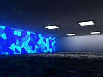 Abstrakt arkitekturbakgrund, tom inre och väggar framförande 3d Royaltyfri Bild