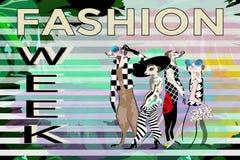 Abstrakt attraktion roliga stilfulla Meerkat i dräkter, hatt, textmodevecka stock illustrationer