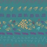 Abstrakt aztec grön sömlös tryckdesignbakgrund stock illustrationer