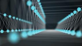 Abstrakt azur blå bro Flyttande handling mellan två sidor som göras, genom att förbinda prickar och linjer Zoomande sammansättnin stock illustrationer