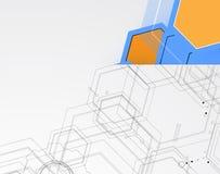 Abstrakt bac för affär för teknologi för kub för strukturströmkretsdator Royaltyfria Foton