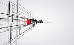Abstrakt bac för affär för teknologi för kub för strukturströmkretsdator Arkivfoto
