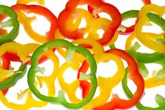 Abstrakt background from bell pepper slices Stock Photo