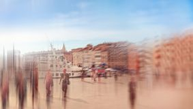 Abstrakt background. Marseilles, Old port (Vieux-Port) with peop Royalty Free Stock Photos