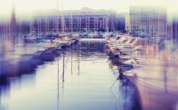 Abstrakt background. Old port of Marseille. Blur effect defocusi Stock Photos