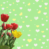Abstrakt background with tulips for greeting with a Happy Valent. Ine (March 8, February 14). vintage style vector illustration