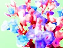 Abstrakt bakgrund av blommor på turkos stock illustrationer