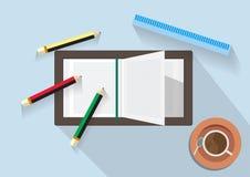 Abstrakt bakgrund av boken och blyertspennor stock illustrationer