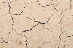 Abstrakt bakgrund av den spruckna leraväggen Arkivbild
