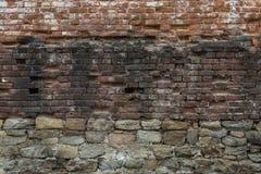 Abstrakt bakgrund av gammalt murverk. Gammal, sprucken riden ut br Arkivfoto