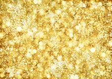 Abstrakt bakgrund av guld- lampor Arkivfoton