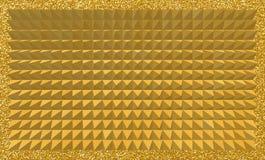 Abstrakt bakgrund av guld- pyramider 3D med den glittery ramen Royaltyfria Foton