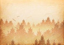 Abstrakt bakgrund av skogen och berg med flygfåglar royaltyfria bilder