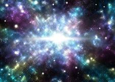 Abstrakt bakgrund av stjärnaexplosionen i en galax Royaltyfria Bilder