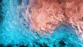 Abstrakt bakgrund, blått och orange lager av flingor, himmel och jord, efterföljd av berg eller grotta, varm-förkylning som är na arkivfoto