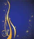 Abstrakt bakgrund, blue och guld Royaltyfria Foton