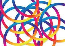 Abstrakt bakgrund, cirklar ringer överlappning med färgrik celebrat vektor illustrationer