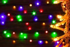 abstrakt bakgrund Det suddiga nya året tänder girlander Royaltyfri Fotografi