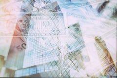 Abstrakt bakgrund för affär - av skyskrapor med spridda sedeldollar och euro Arkivbilder