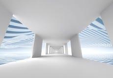 Abstrakt bakgrund för arkitektur 3d, tom korridor royaltyfri illustrationer