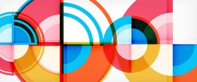 Abstrakt bakgrund för cirkel, geometriska former för ljus färgrik runda vektor illustrationer