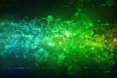abstrakt bakgrund för 2d illustrationvärldskarta, bakgrund för nätverk för global kommunikation stock illustrationer
