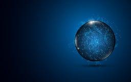 Abstrakt bakgrund för design för begrepp för nätverkande för internet för sfäranslutningsteknologi vektor illustrationer