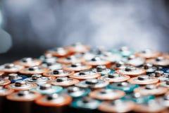 Abstrakt bakgrund för energi av färgrika batterier Royaltyfria Bilder
