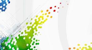 Abstrakt bakgrund för färgsexhörningsteknologi med pilen Royaltyfria Bilder