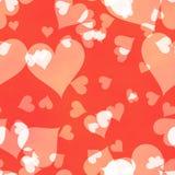 Abstrakt bakgrund för förälskelse med hjärtor och Bokeh ljus fotografering för bildbyråer